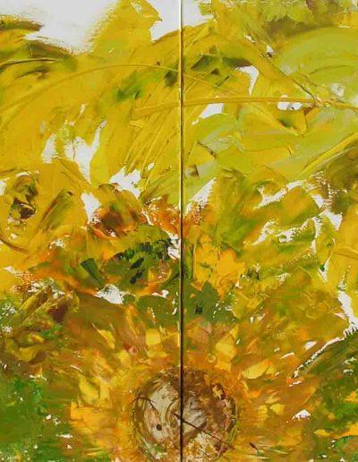 Sonnenblume Diptychon, Acryl auf Leinwand 80x120