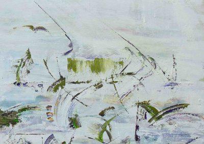 Land im Krieg, Acryl auf Leinwand, 100x100x4