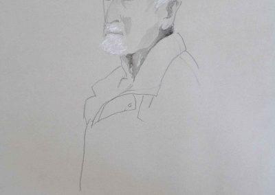 Skizze auf grauem Karton,Bleistift,Kreide , 50x70