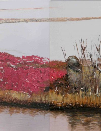 Venedig Lagune Diptychon, Acryl auf Leinwand 60x140