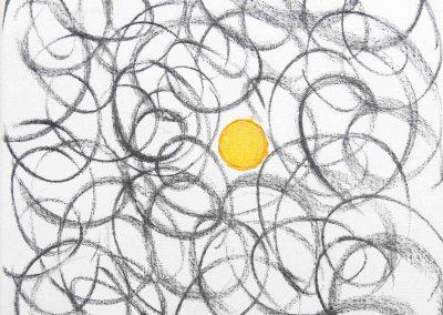 Zyklus Sonne, Acryl, Kohle 30x30