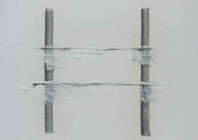 o.T., Acryl, Kohle auf Leinwand, 50x40x4